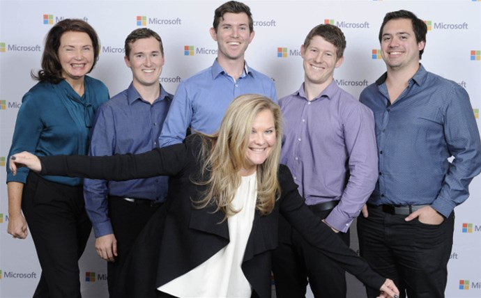 Ozbizweb Group with Partner Sales Executive Carmel Mosser (far left) and GM of Microsoft Australia, Pip Marlow (front)