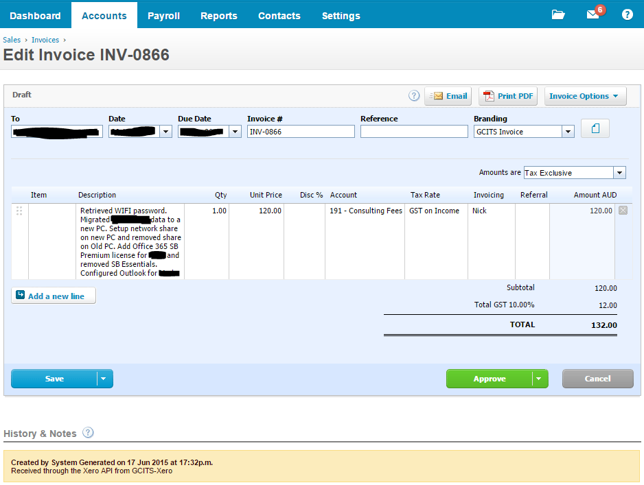 Invoice Created in Xero using SharePoint List Data